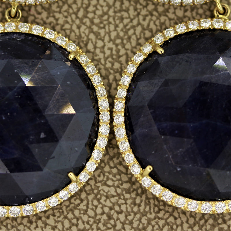 Blue & White Sapphire Diamond Gold Drop Earrings