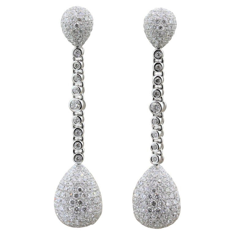 Diamond Pave Gold Drop Earrings