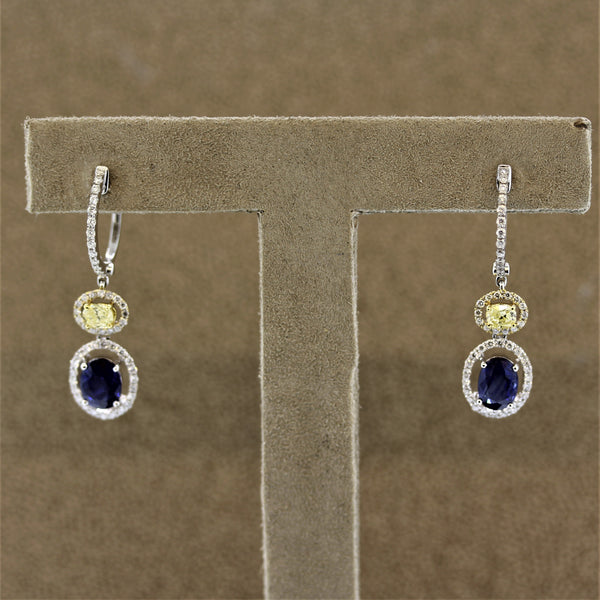 Fancy Yellow Diamond Sapphire Gold Drop Earrings