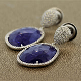 Tanzanite Diamond Gold Drop Earrings