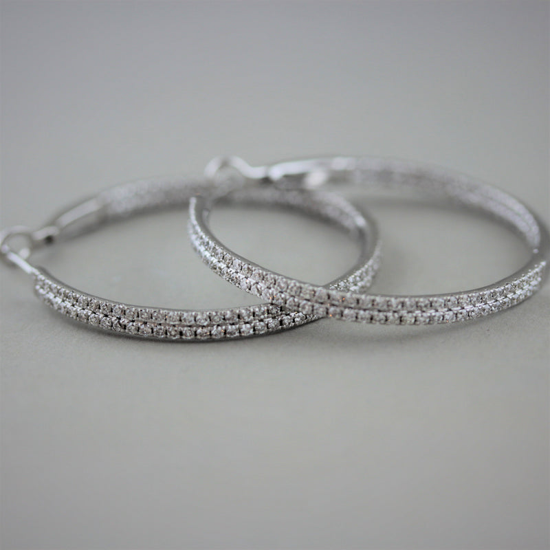 Diamond Pavé Gold Hoop Earrings