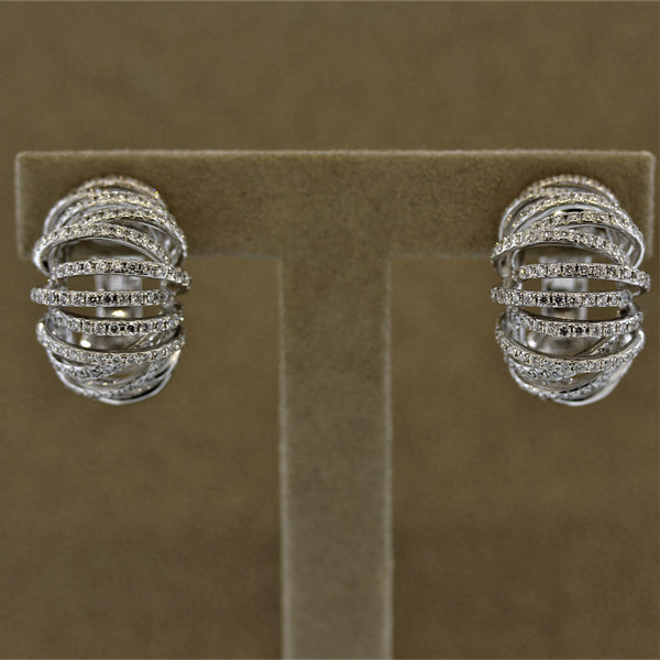 Diamond Gold Spiral Earrings