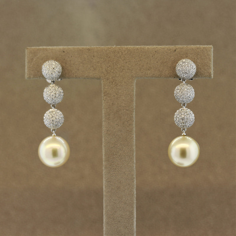 Golden South Sea Pearl Diamond Drop Earrings
