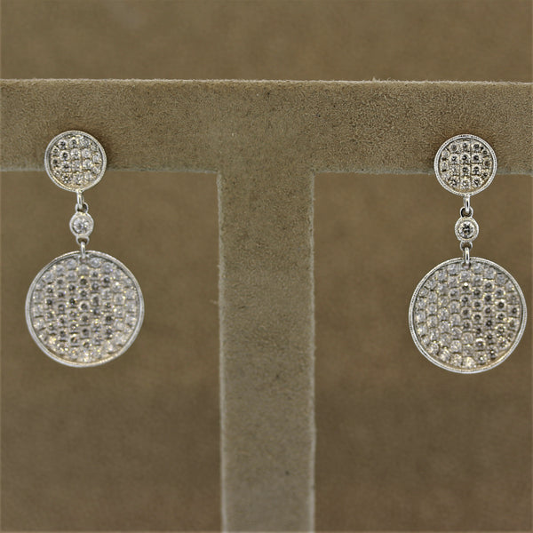 Diamond Disc Gold Drop Earrings