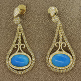 Turquoise Diamond Gold Drop Earrings