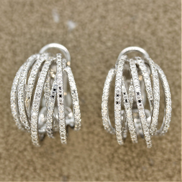 "Diamond Gold ""Crossover"" Earrings"