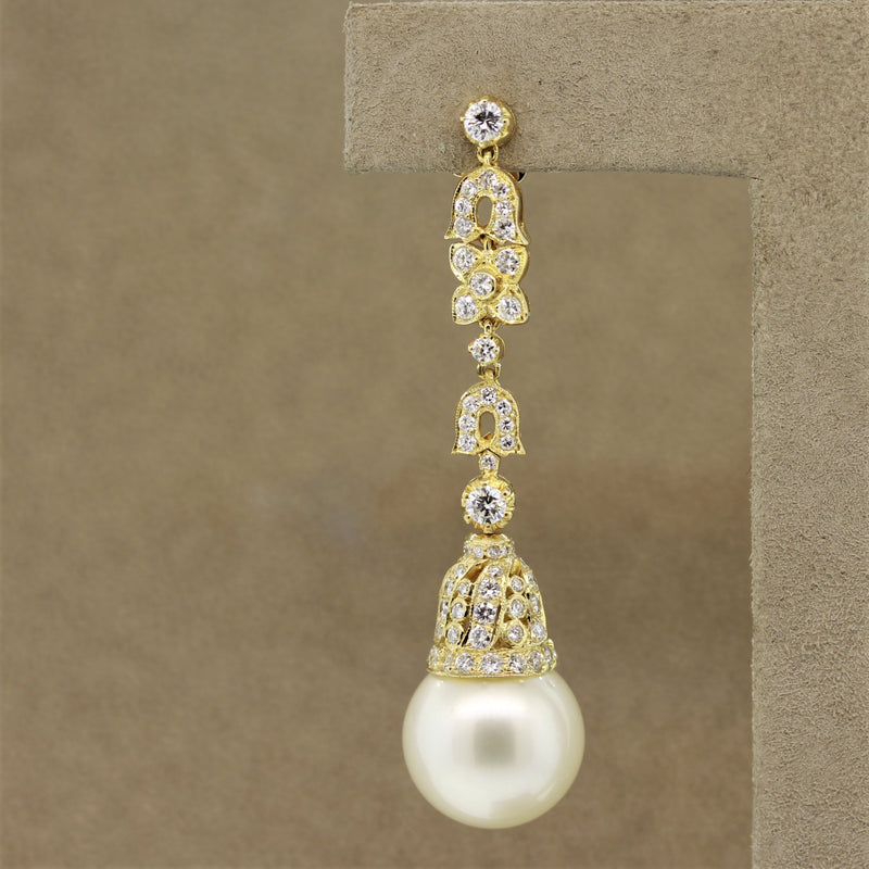 South Sea Pearl Diamond Long Gold Drop Earrings