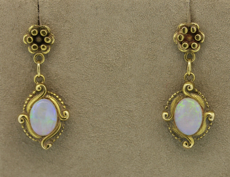Art Nouveau Opal Gold Drop Earrings