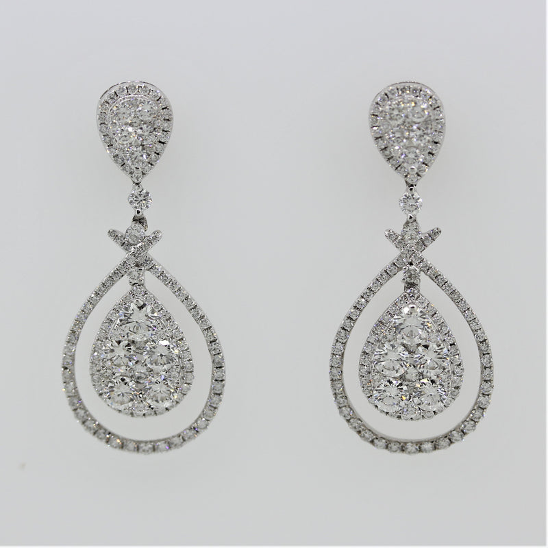 Diamond Cluster Gold Drop Earrings