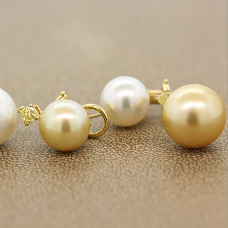 White & Golden South Sea Pearl Diamond Gold Drop Earrings
