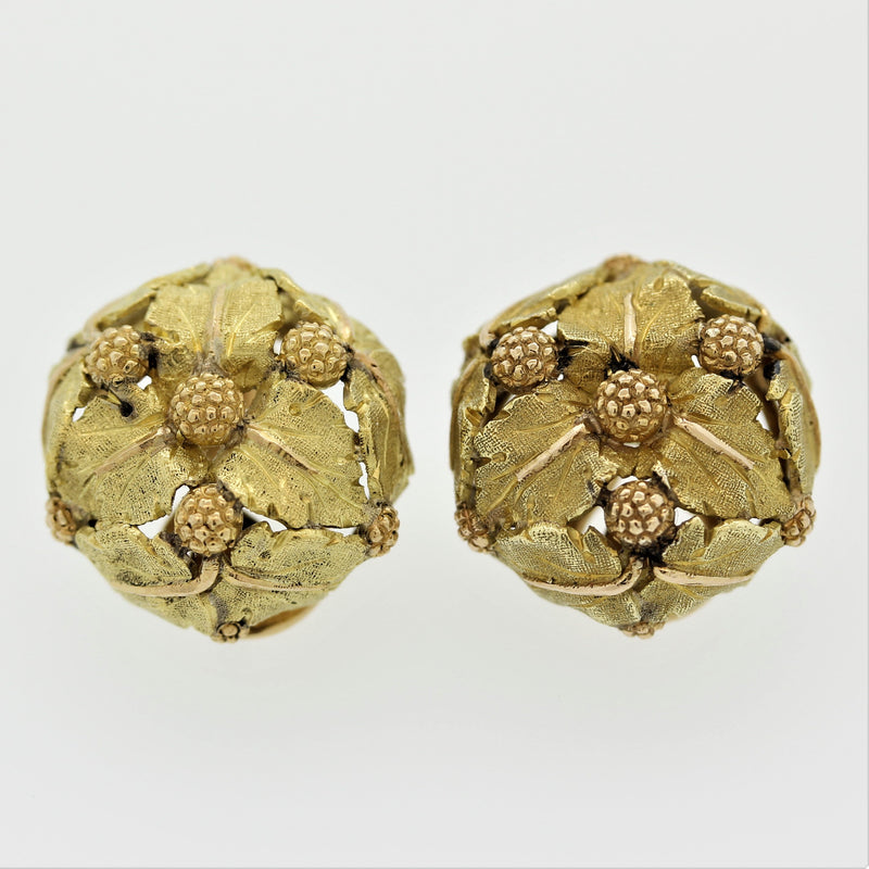 Italian Buccellati Gold Foliage Ear-Clip Earrings