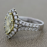 Fancy Yellow Diamond Gold Engagement Ring, 2.16ct
