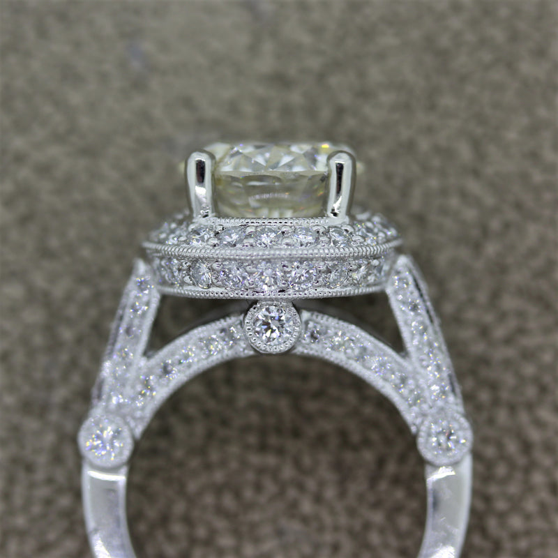 3.29 Carat Round Diamond Platinum Engagement Ring