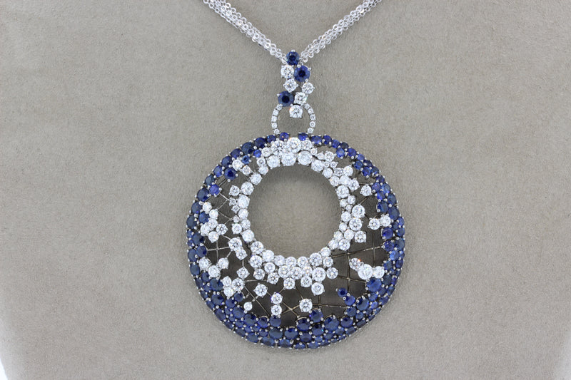 Diamond Sapphire Gold Webb Pendant Necklace
