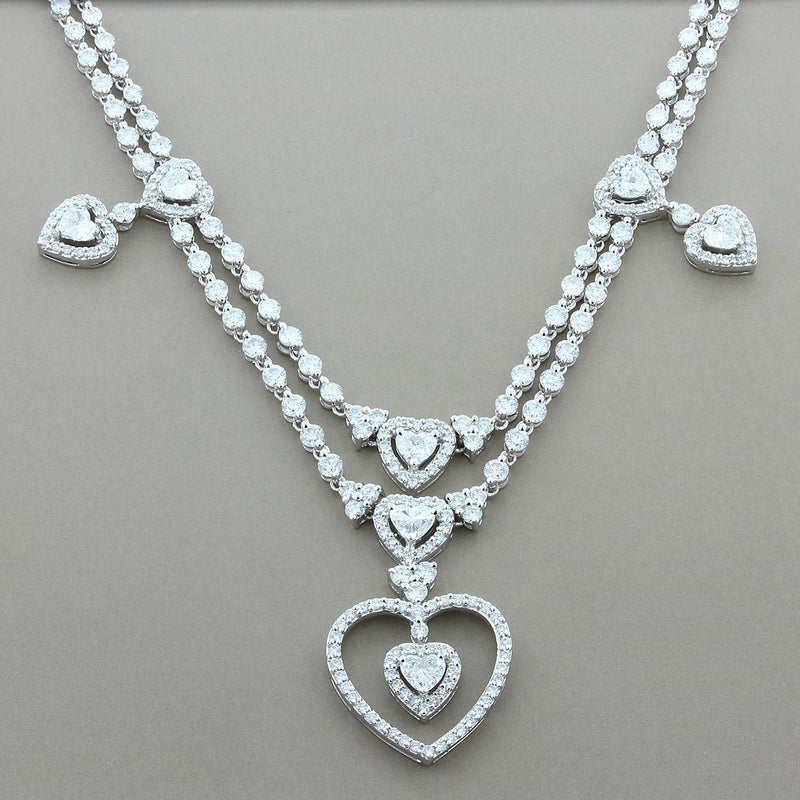 Diamond Gold Chandelier Heart Necklace
