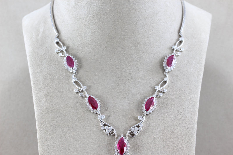 Ruby Diamond Gold Drop Necklace