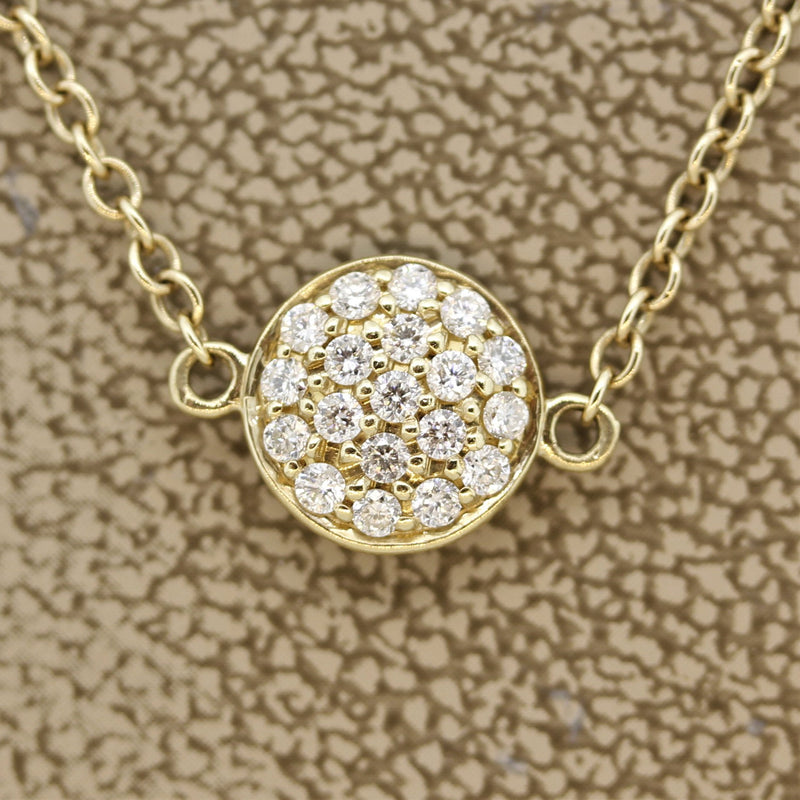 "Diamond ""Disc"" Gold Necklace"