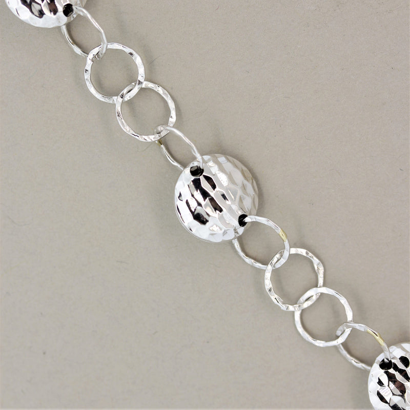 18k White Gold Hammered Chain Necklace
