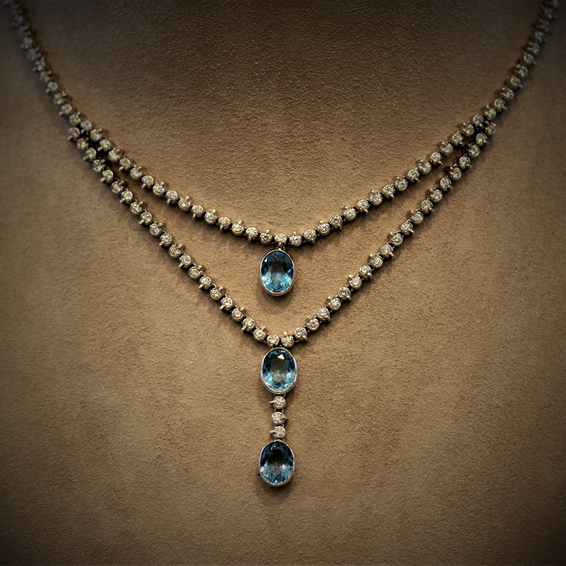 Swiss Topaz Diamond Gold Double-Layer Necklace