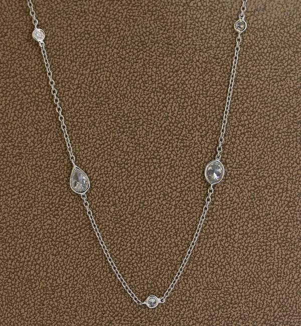 Fancy Shape Diamonds by the Yard Gold Necklace, 36 inches