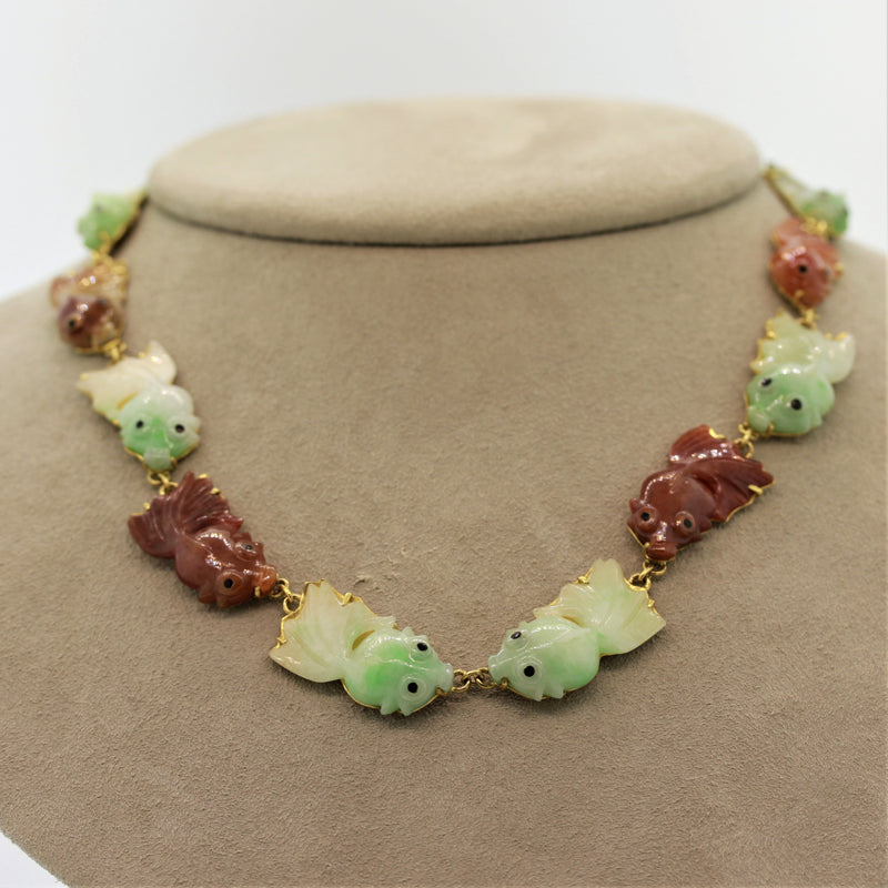 Jadeite Jade High-Karat Gold Fish Necklace