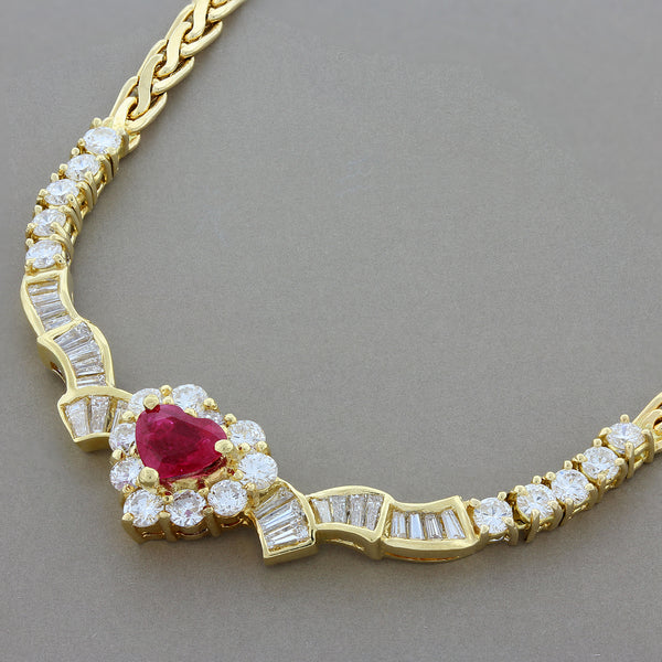 Ruby Heart Diamond Gold Necklace