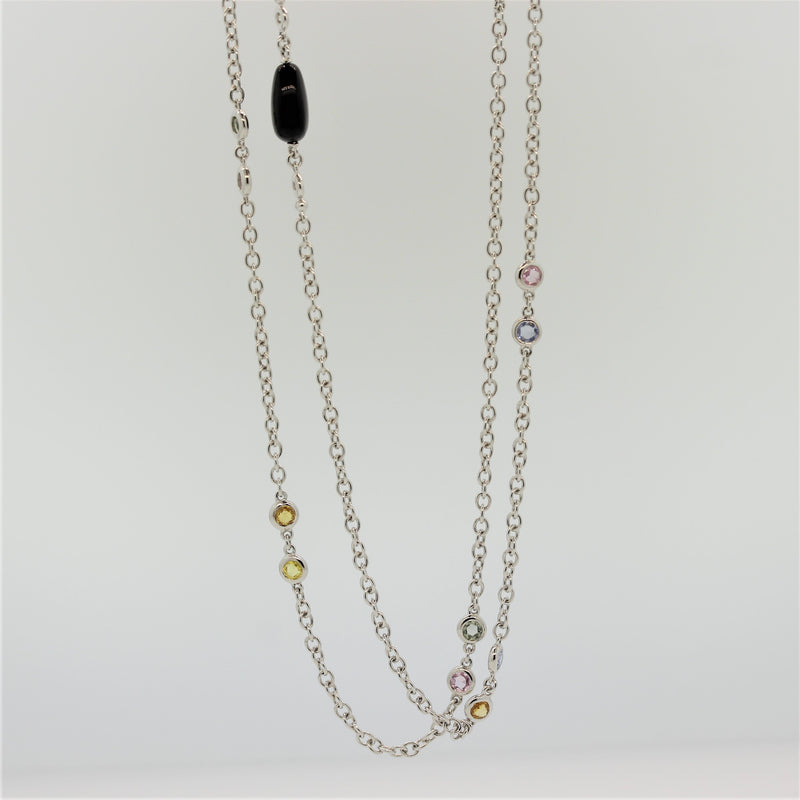 Diamond Onyx Sapphire Gold Chain Necklace, 60 inches