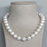 South Sea Pearl Diamond Clasp Gold Necklace