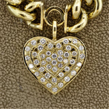 Diamond Heart Curb-Link Gold Necklace