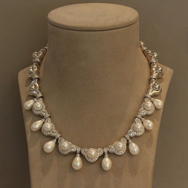 Akoya Pearl Diamond Gold Drop Necklace