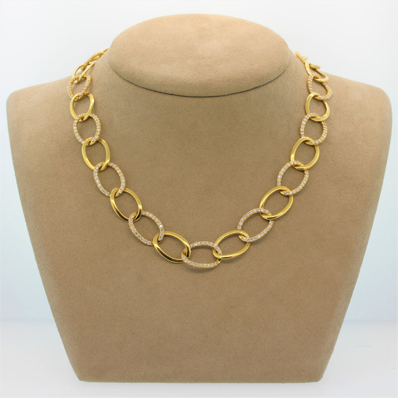 Diamond Gold Link Necklace