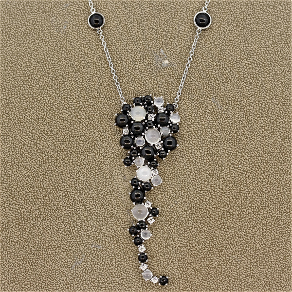 Italian Cats-Eye-Moonstone Star-Diopside Diamond Gold Necklace