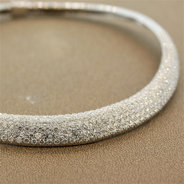 Diamond Pave White Gold Collar Necklace