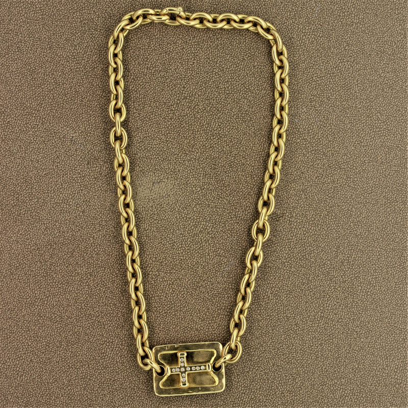 Gold Diamond Cross Chain Necklace