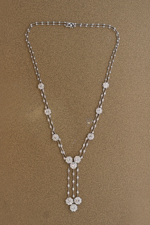 Diamond Drop Gold Double-Strand Necklace