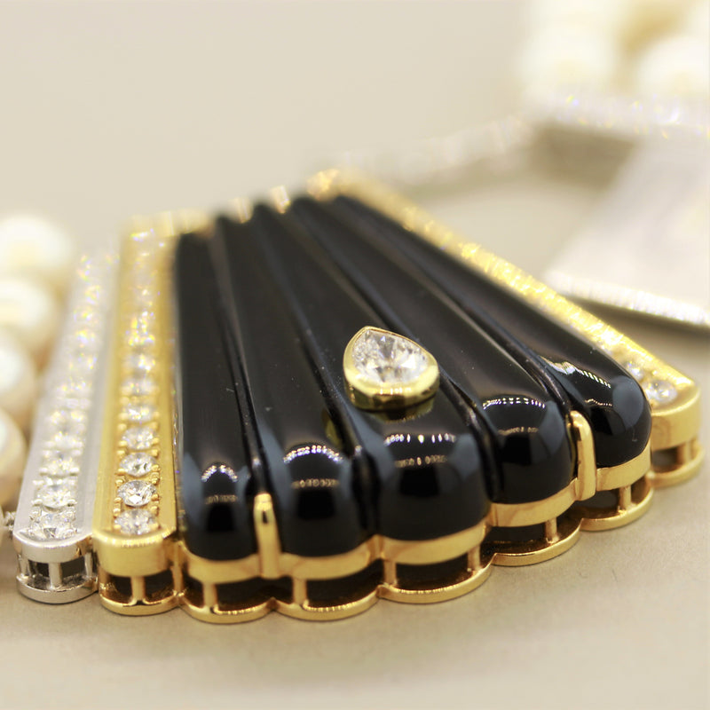 Multi-Strand Pearl Diamond Onyx Gold-Platinum Necklace