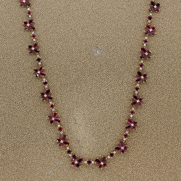 Ruby Diamond Gold Long Necklace