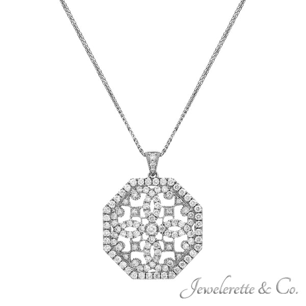 Diamond Gold Octagon Pendant