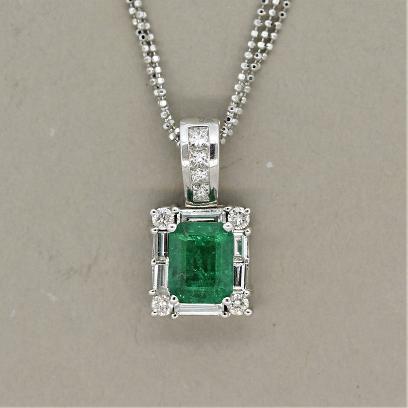 Emerald Diamond Gold Frame Pendant