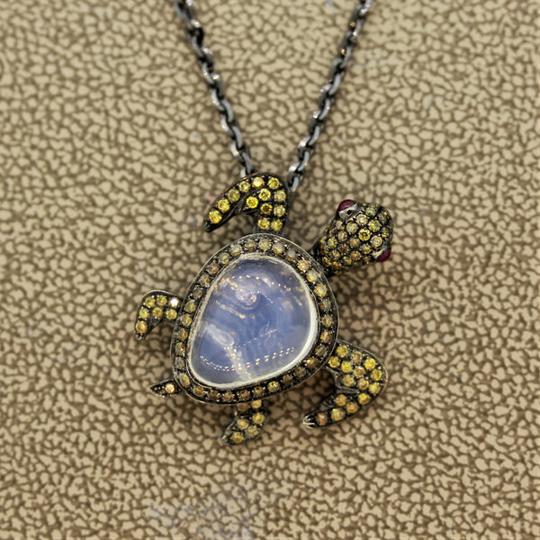 Fancy Colored Diamond Ruby Opal Gold Turtle Pendant Necklace
