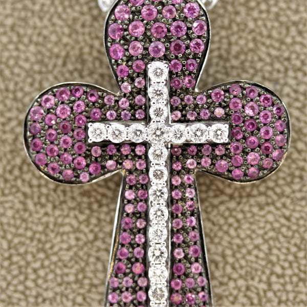 Pink Sapphire Diamond Gold Double Cross Pendant