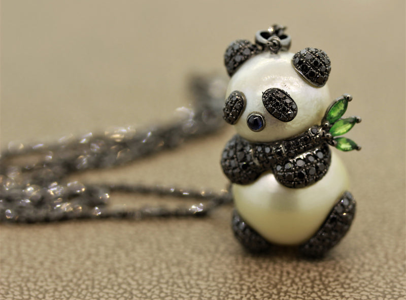 Diamond Pearl Gold Panda Pendant Necklace