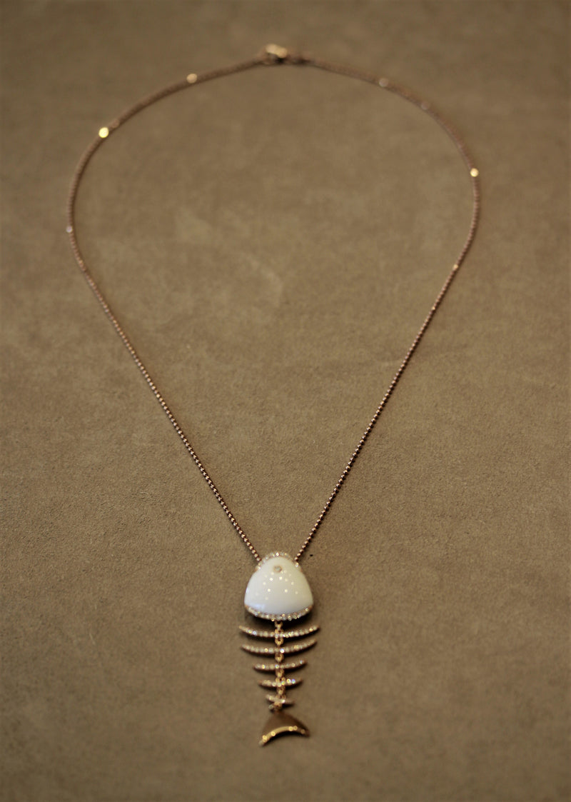White Onyx Diamond Gold Fish-Bone Pendant Necklace
