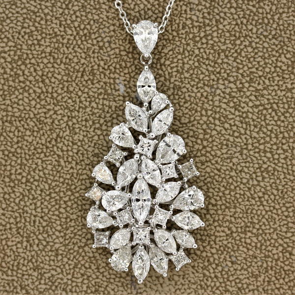 Large Diamond Cluster Gold Drop Pendant