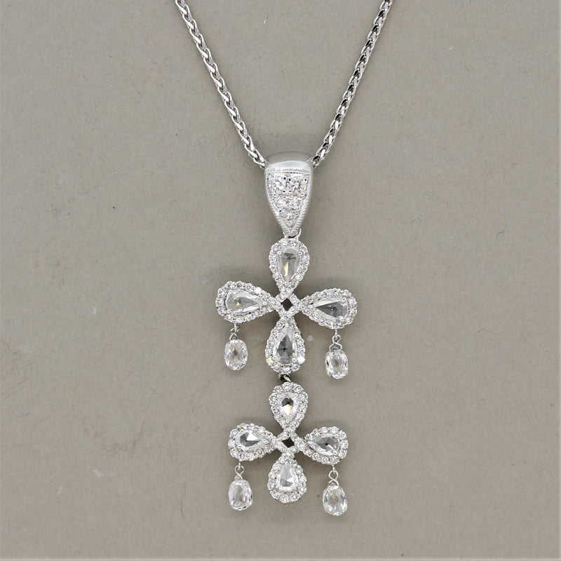 Diamond Briolette Drop Gold Floral Pendant