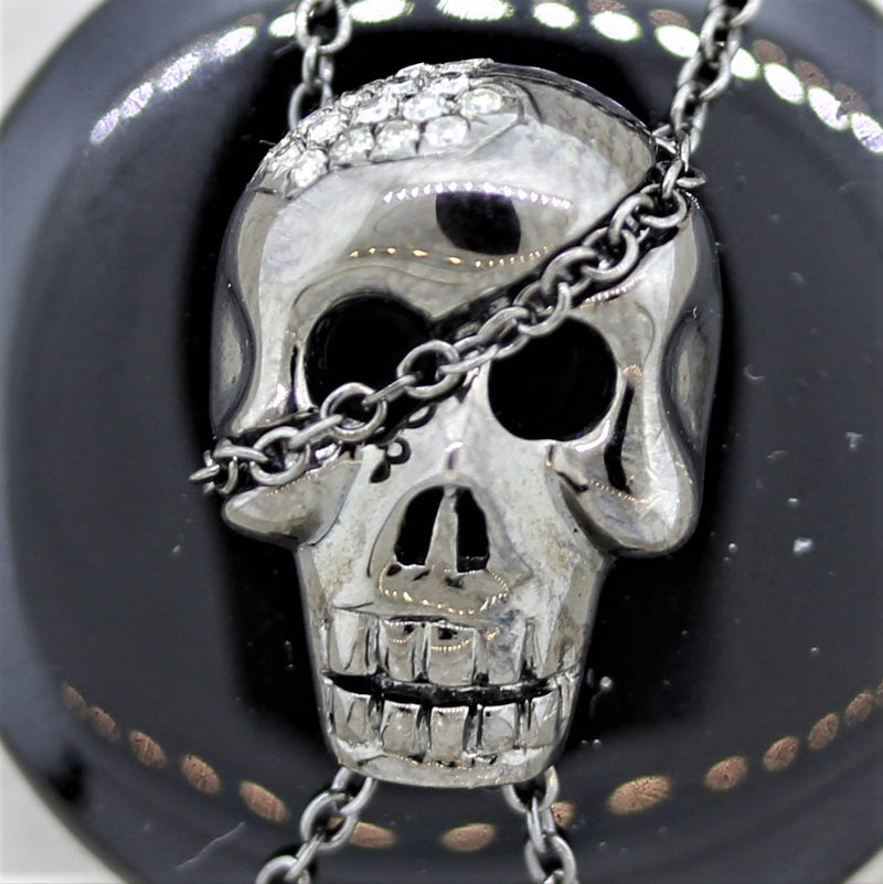 Black-Onyx Diamond Gold & Rhodium Skull Pendant