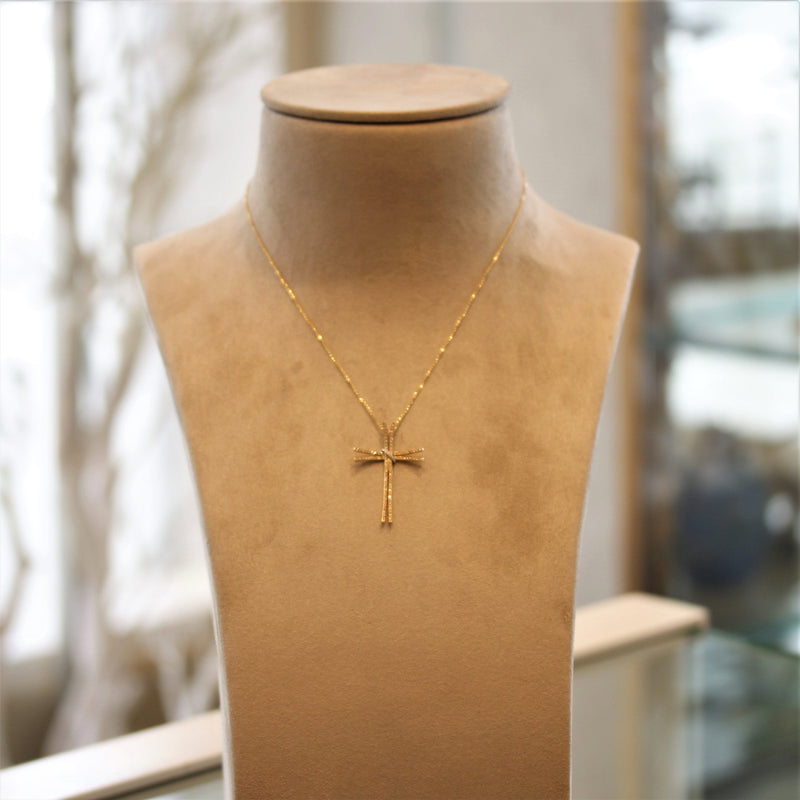 Diamond Gold Double Cross Pendant