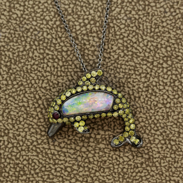 Opal Fancy Colored Diamond Ruby Gold Dolphin Pendant