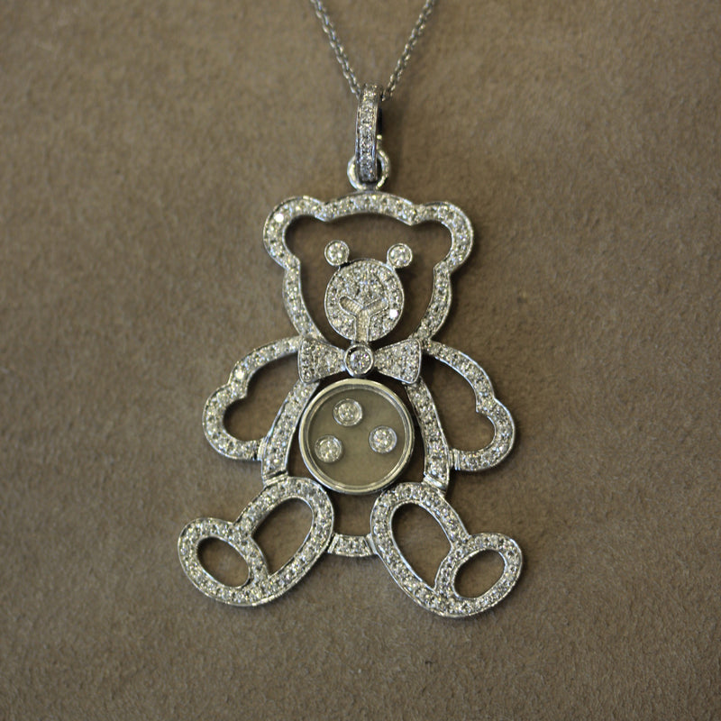 Chopard Diamond Teddy Bear Gold Pendant, Happy Diamond Collection