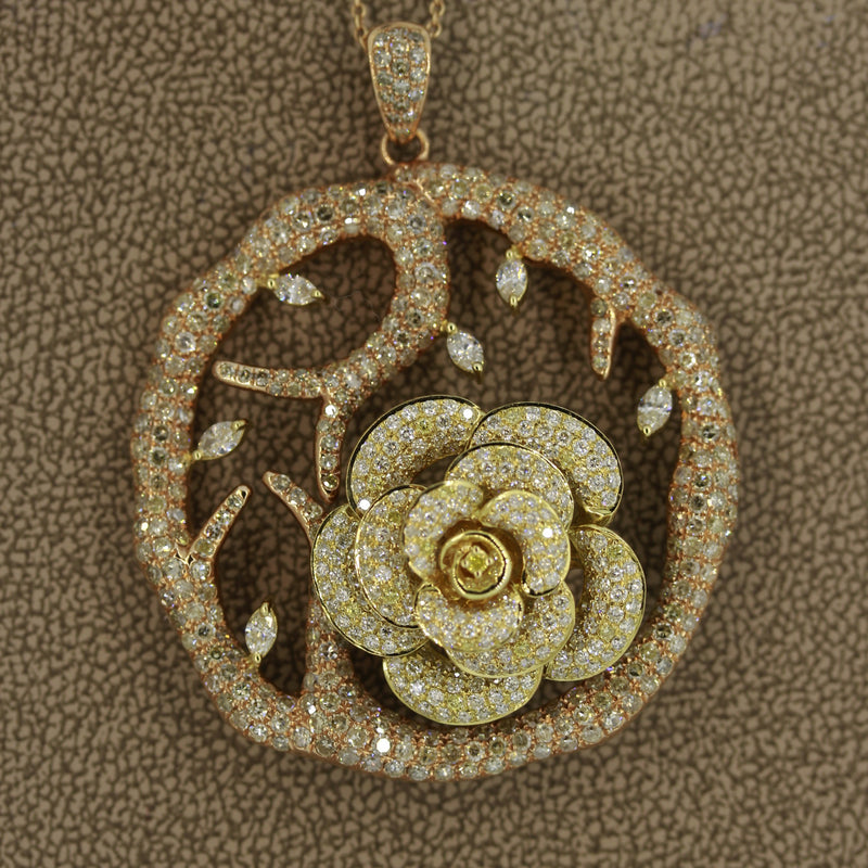 Diamond Flower Tree Two-Tone Gold Pendant Necklace